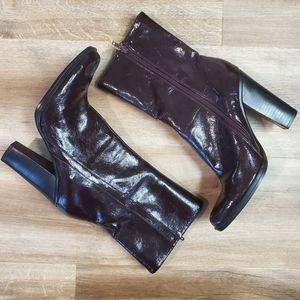 Deep Burgundy Patten Leather Boots